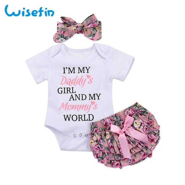 Wisefin Newborn Girl Boutique Clothes Set Summer 3Pcs Floral Toddler
