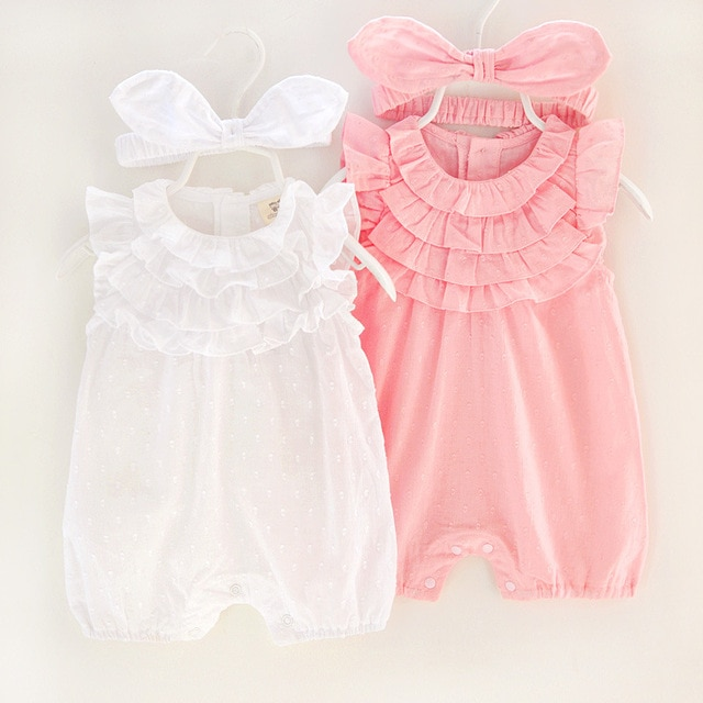 2018 Summer Baby Girl Rompers Lace cotton Jumpsuit Floral Baby