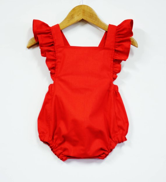 Red Retro Baby Girl Romper Ruffle Romper Baby Outfit Girl | Etsy