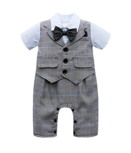 Cute Baby Boy Rompers Newborn Gentleman Suits Infant Clothes Kids
