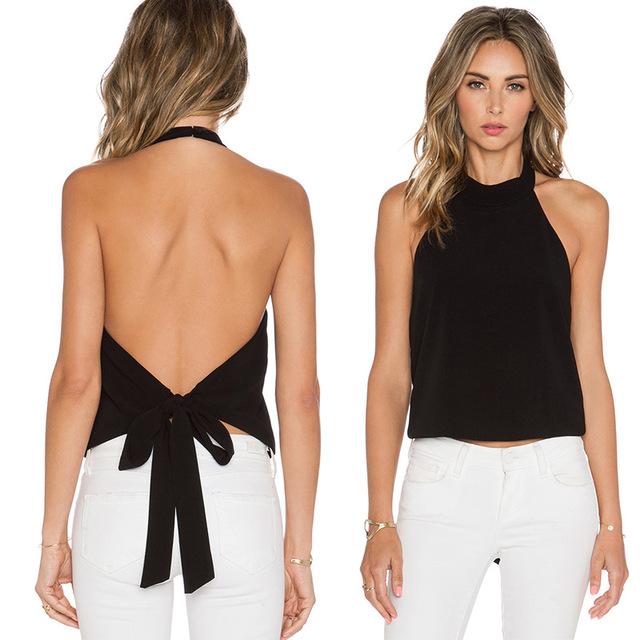 Fashion Halter Neck Backless Sleeveless Blouses Tops Women sex white