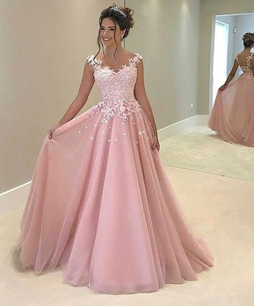 Lace Appliqued Prom Dress,Ball Gown Pink Prom Dresses,Long Prom