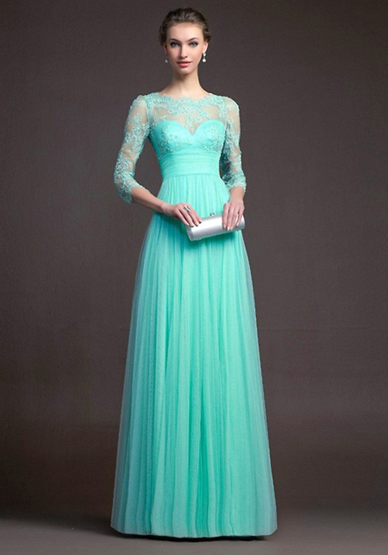 Turquoise blue Lace Pleated 3/4 Sleeve Elegant Fashion Ball Gown
