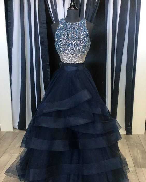 Two Pieces Ball Gown Prom Dress, Handmade   Cocopromdress