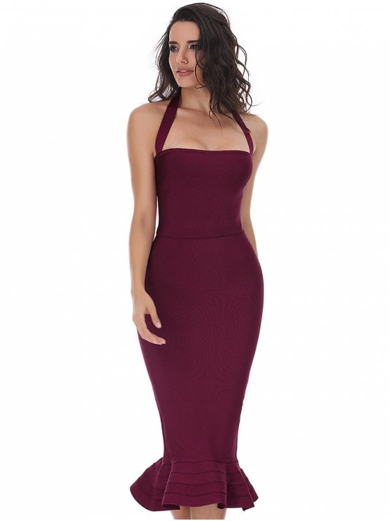 41% OFF] 2019 Halter Fitted Bandage PromDress In DEEP RED S   ZAFUL