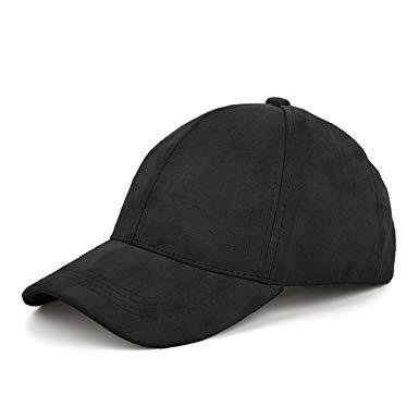 JOOWEN 6 Panel Faux Suede Baseball Cap Classic Adjustable Soft Plain