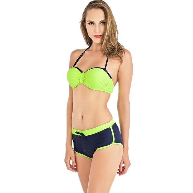 Aindav Sports Bikini 2019 Swimwear Women Swimsuit Tops Boxer Shorts