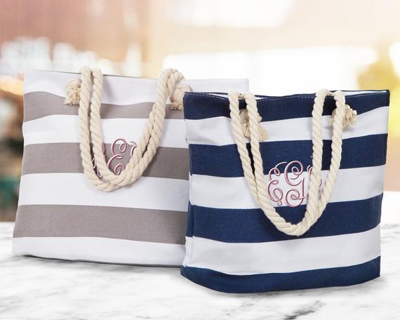SALE Monogrammed Beach Tote Bag Bridal Gift Totes   Etsy