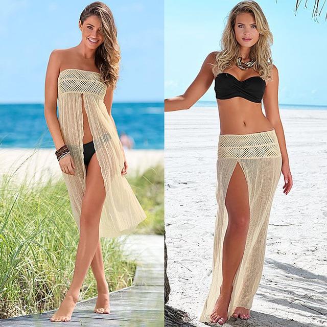Women Sleeveless Beach Dress Mesh Hollow Floatsuit Crochet Lace
