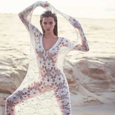 Women's V Neck Floral Lace Long Cover up Beachwear - SWIMHONEY.COM