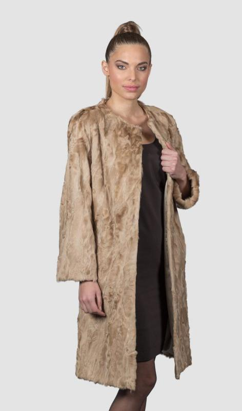 Beige Astrakhan Fur Jacket. 100% Real Fur Coats and Accessories.