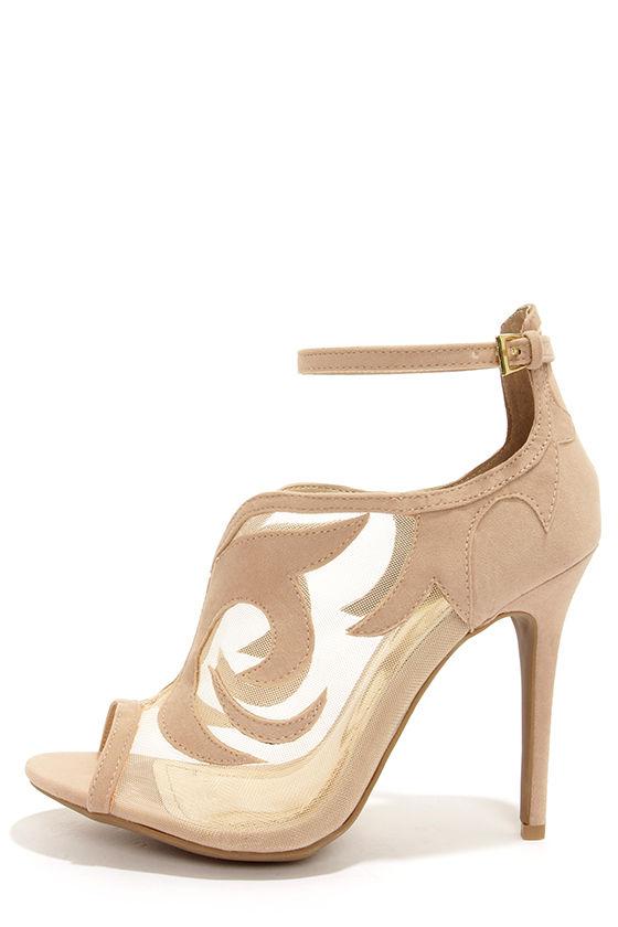 Sexy Beige Heels - Ankle Strap Heels - Peep toe Heels - $34.00