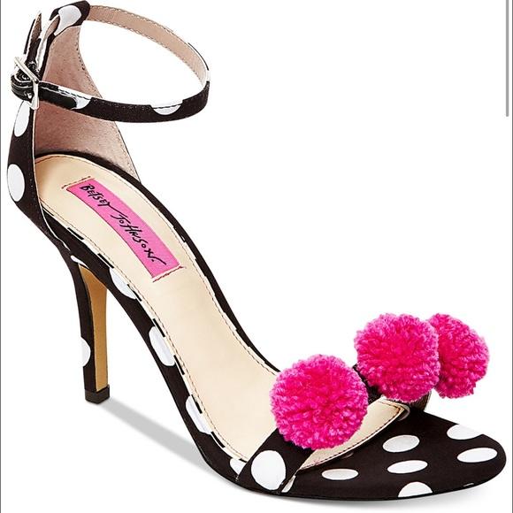 Betsey Johnson Shoes | Polka Dot Pom Pom Heels | Poshmark