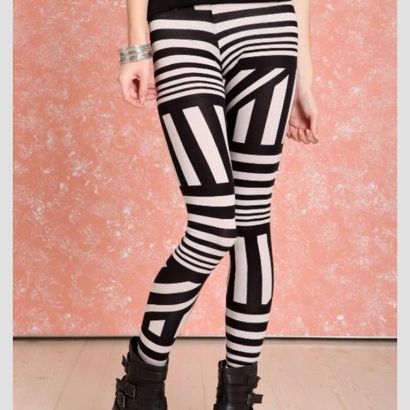 Pants   Black And White Asymmetric Striped Leggings   Poshmark