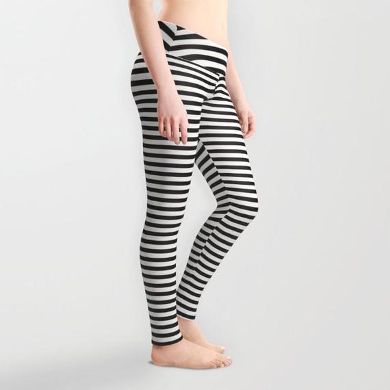 Black and White Striped Leggings Small Medium Large   Etsy