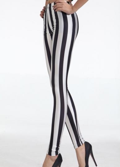Women's Black And White Vertical Striped Zebra Leggings