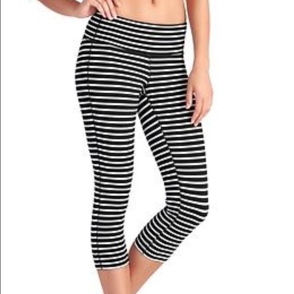 Athleta Pants   Black And White Striped Leggings Size S   Poshmark