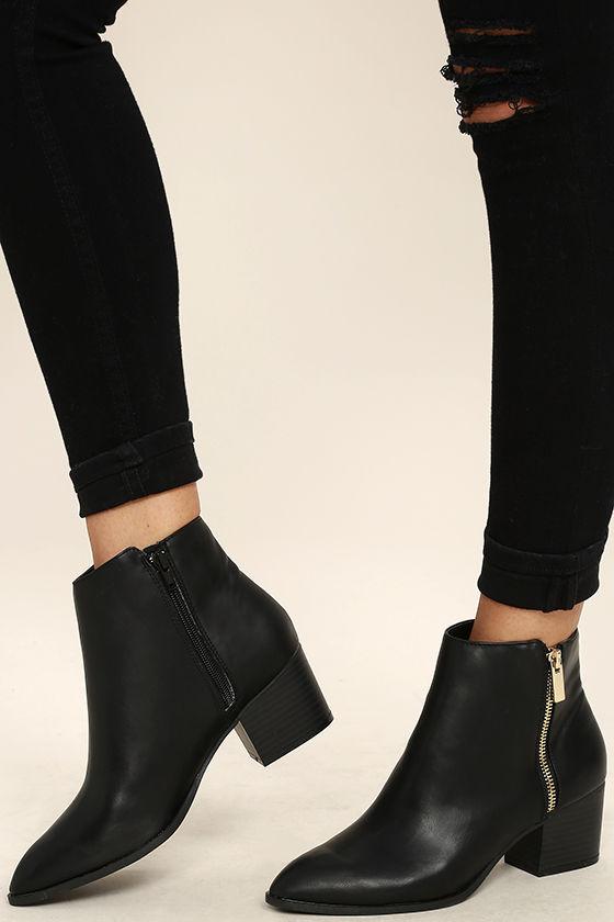 Cute Black Booties - Ankle Booties - Pointed Toe Booties