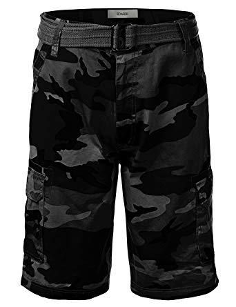 IDARBI Men's Belted Ripstop Camo Cargo Shorts Black 34 Small
