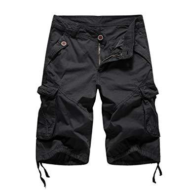 Stylish black cargo shorts for men