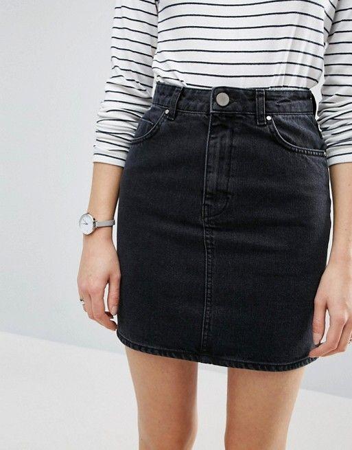 black denim skirt   striped black and white long sleeve   watches