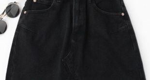 36% OFF] 2019 High Waisted Cutoffs Mini Denim Skirt In BLACK S | ZAFUL