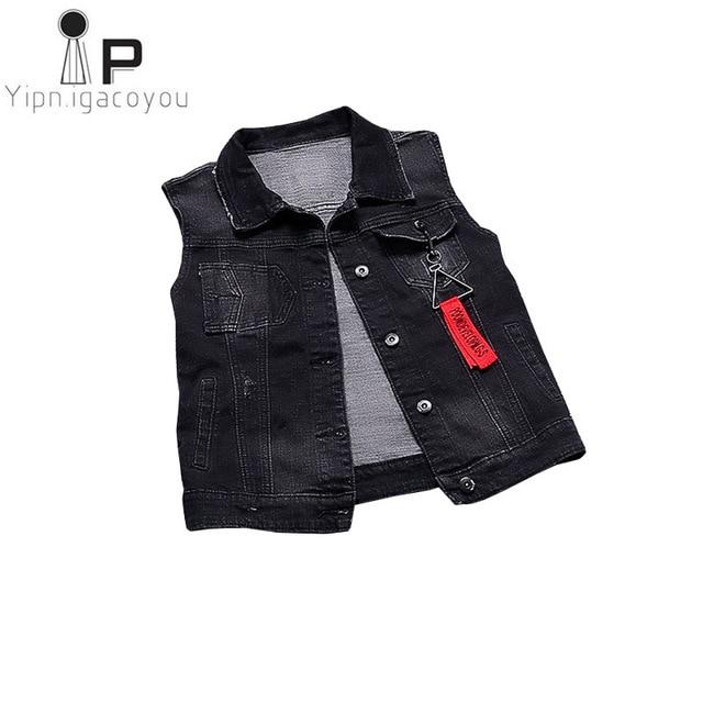 Fashion Black Denim Vest Women Waistcoat Summer Jacket Women Jeans