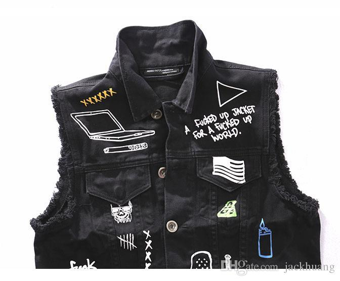 Men'S Fashion Black Denim Vests Men Motorcycle Biker Vest Graffiti