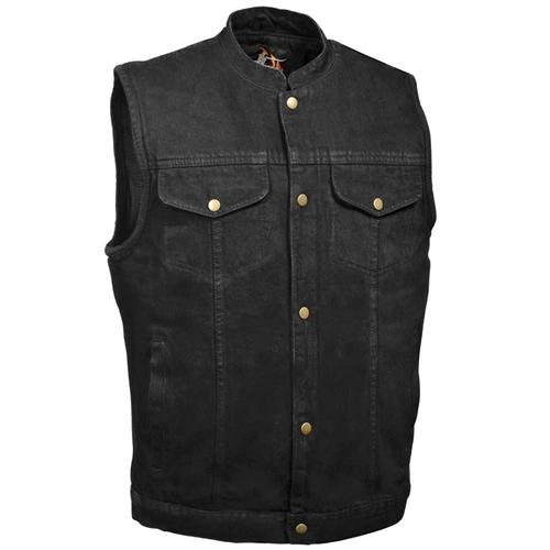 Men's Black Denim Motorcycle Vests (The Best Quality)