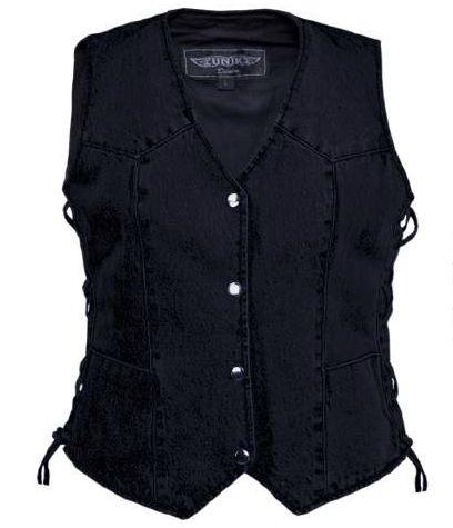 Women's Black Denim Motorcycle Vest l Concealed Carry