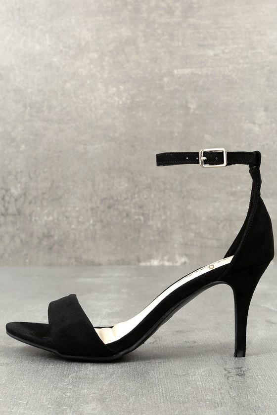 Black Heels - Single Sole Heels - Black Ankle Strap Heels