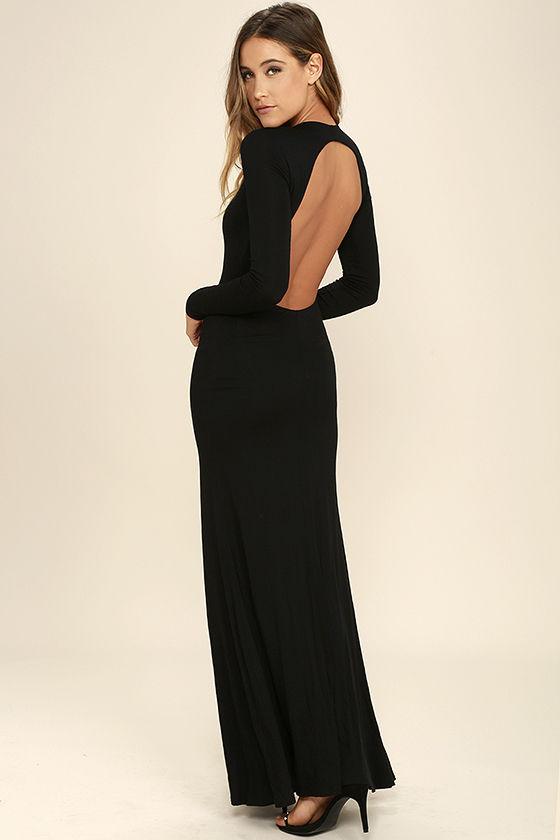 Sexy Black Backless Dress - Backless Maxi -Long Sleeve Dress