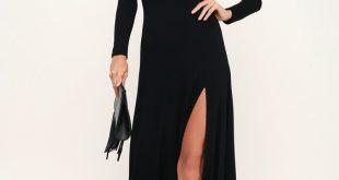 Chic Black Dress - Maxi Dress - Long Sleeve Dress