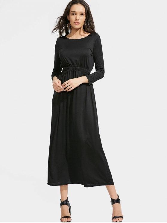 40% OFF] 2019 Long Sleeve Elastic Waist Maxi Dress In BLACK XL | ZAFUL