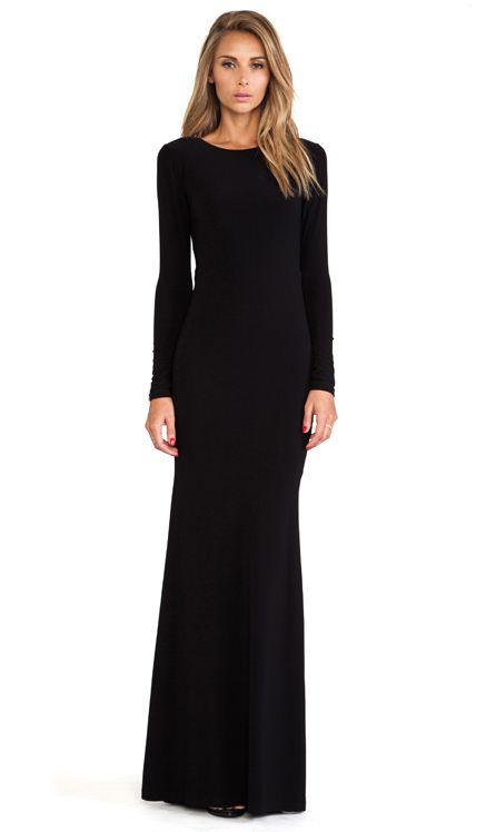 Alice + Olivia Long Sleeve Maxi Dress in Black | Long & Beautiful