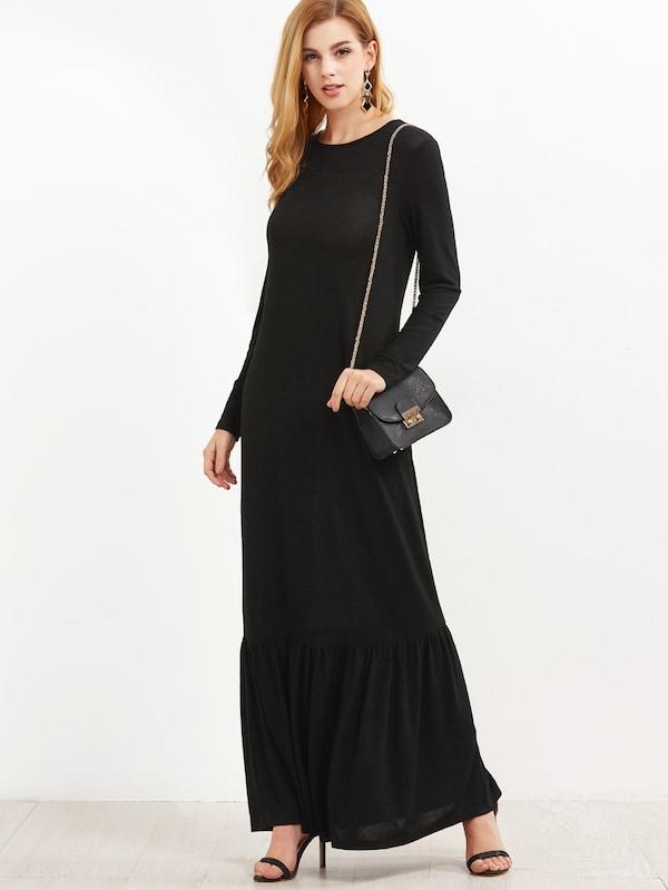 Black Long Sleeve Ruffle Hem Maxi Dress | SHEIN