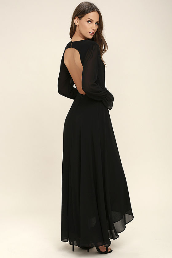 Stunning Black Maxi Dress - Backless Maxi - Long Sleeve Maxi - $58.00