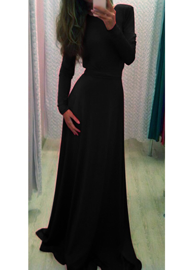 Classy Black Long Sleeve Maxi Dress on Luulla