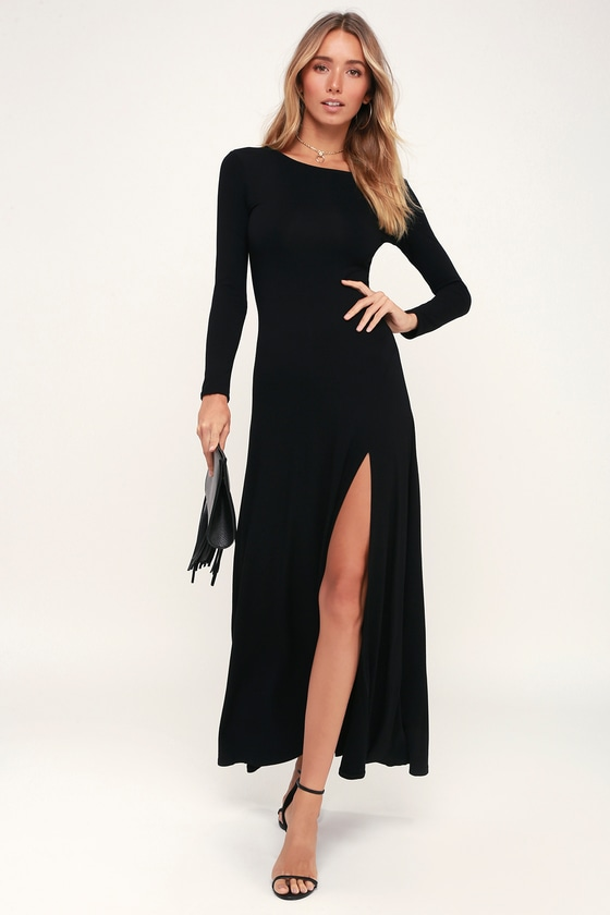 Black long sleeve maxi dress   exclusively for women