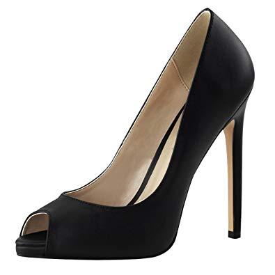 Amazon.com   Summitfashions Womens Black Stiletto Heels Peep Toe