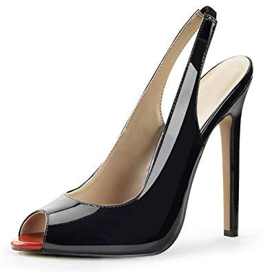 Amazon.com   Summitfashions Womens Black Slingback Pumps Peep Toe
