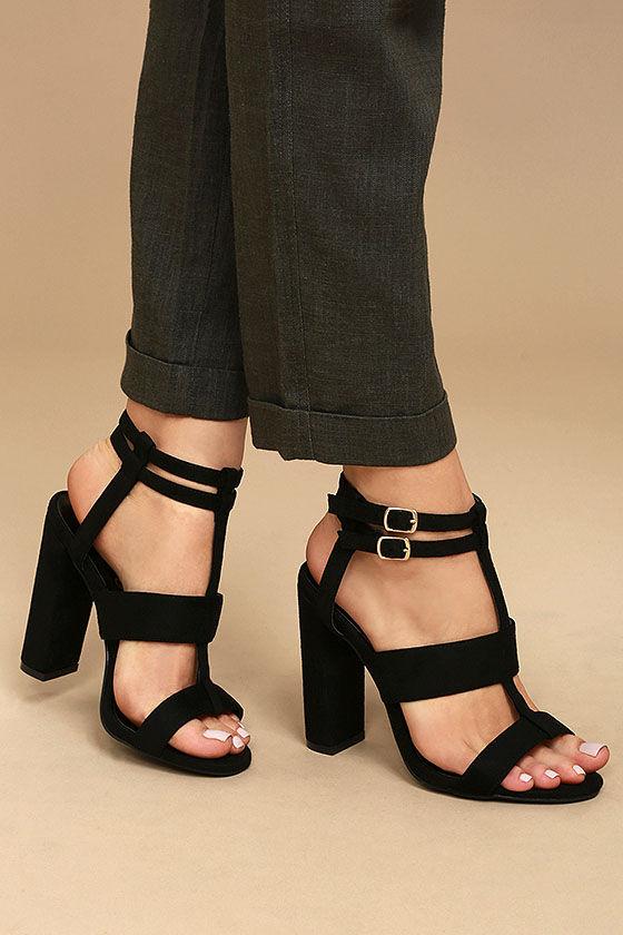 Sexy Black Heels - Vegan Suede Heels - Strappy Heels - Peep Toe