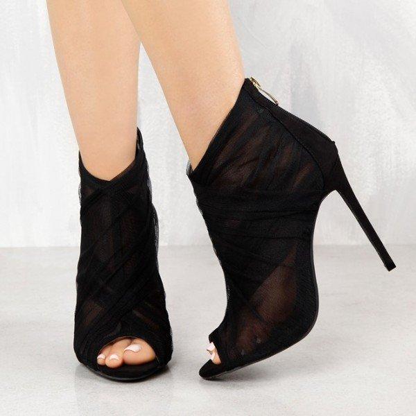 Women's Black Sexy Lace Ankle Booties Peep Toe Heels Stiletto Heels