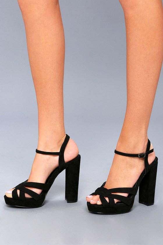 Sexy Black Platform Heels - Vegan Suede Heels - Black Heels