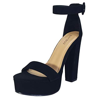 Amazon.com   BAMBOO Women's Chunky Heel Platform Sandal with Ankle
