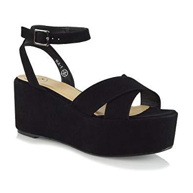 Amazon.com   ESSEX GLAM Womens Platform Heels Ankle Strap Wedge