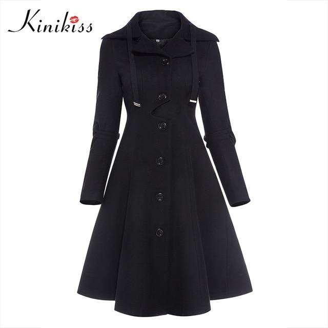 Kinikiss Women Winter Long Trench Coat Black Gothic Turn Down Collar