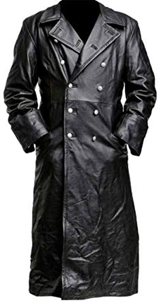 German Style Classic Military Officer Black Leather Trench Coat at