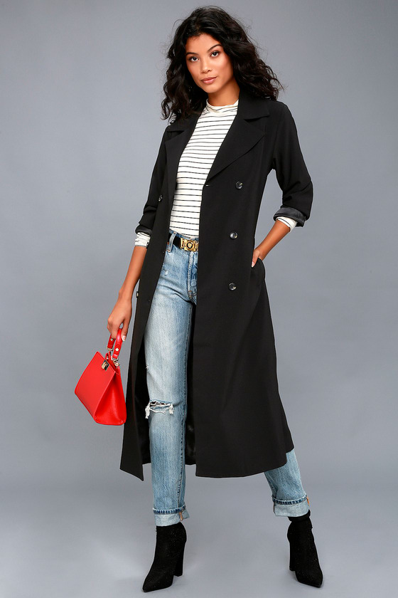 Chic Black Trench Coat - Long Trench Coat - Belted Coat