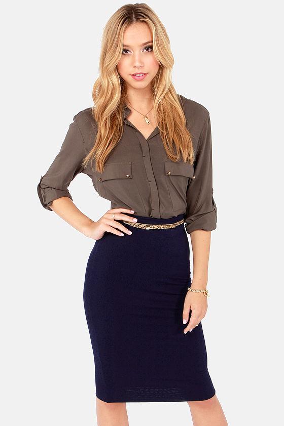 Cute Navy Blue Skirt - Pencil Skirt - Midi Skirt - $28.00